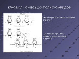 КРАХМАЛ - СМЕСЬ 2-Х ПОЛИСАХАРИДОВ Амилоза (10-20%) имеет линейную структуру А