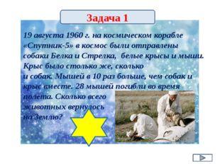 19 августа 1960 г. на космическом корабле «Спутник-5» в космос были отправлен