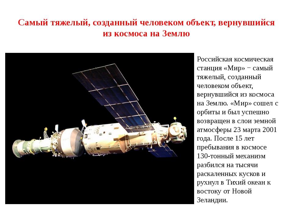 Самый тяжелый, созданный человеком объект, вернувшийся из космоса на Землю Ро...