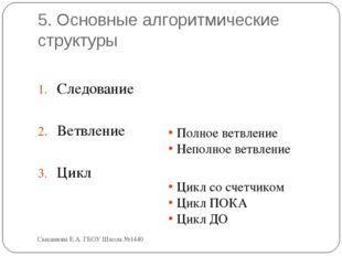 5. Основные алгоритмические структуры Следование Ветвление Цикл Полное ветвле