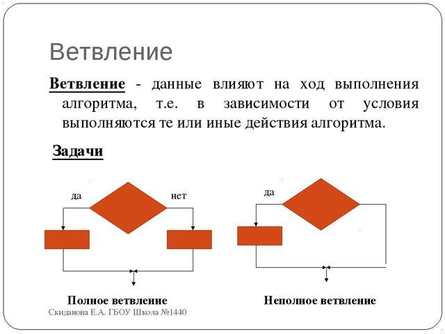 Ветвление Ветвление - данные влияют на ход выполнения алгоритма, т.е. в завис...