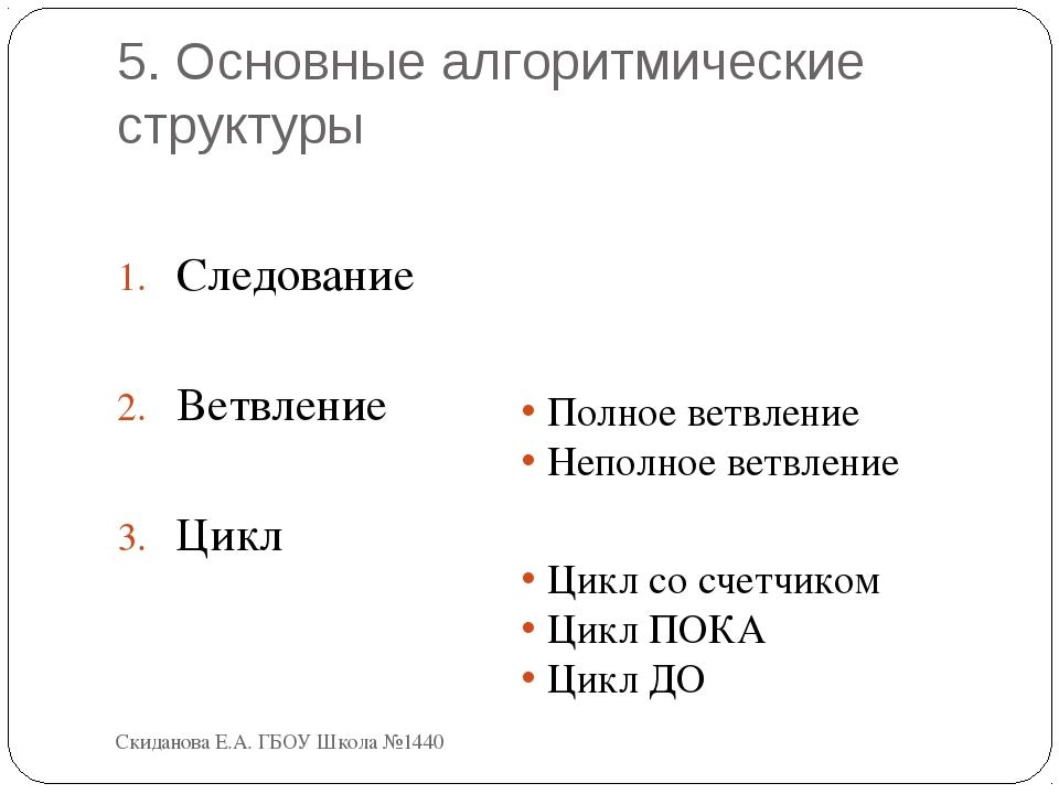 5. Основные алгоритмические структуры Следование Ветвление Цикл Полное ветвле...