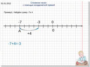 * Пример1. Найдём сумму -7и 4 Сложение чисел с помощью координатной прямой 31