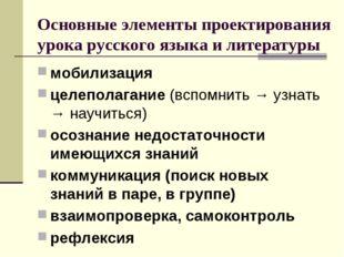 Основные элементы проектирования урока русского языка и литературы мобилизаци
