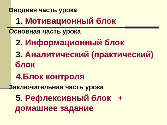 Вводная часть урока 1. Мотивационный блок Основная часть урока 2. Информацион...