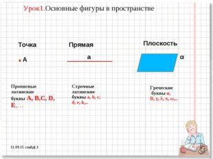 * слайд1.1 * Урок1.Основные фигуры в пространстве Точка .А Прямая а Плоскость