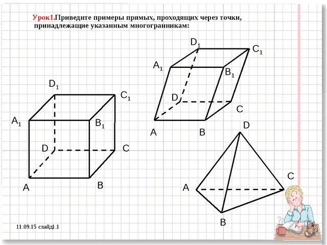 * слайд1.1 * Урок1.Приведите примеры прямых, проходящих через точки, принадле...
