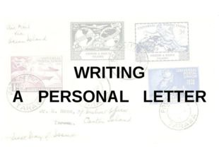 WRITING A PERSONAL LETTER