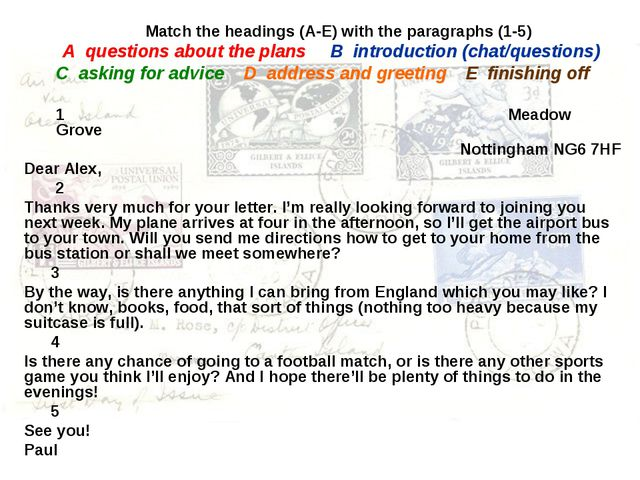 Match the headings (A-E) with the paragraphs (1-5) A questions about the pla...