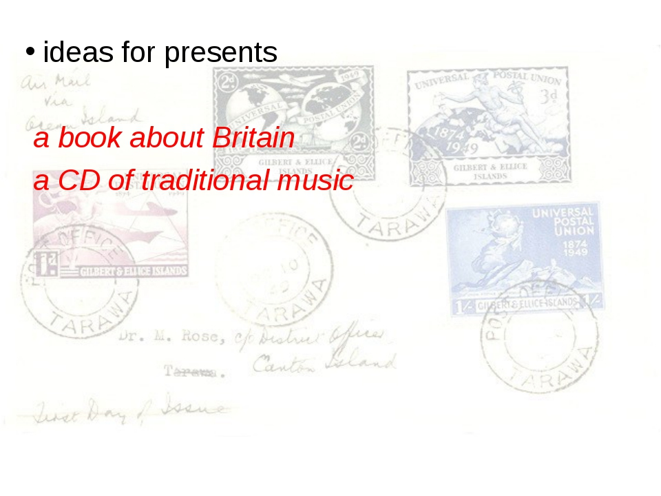 ideas for presents a book about Britain a CD of traditional music