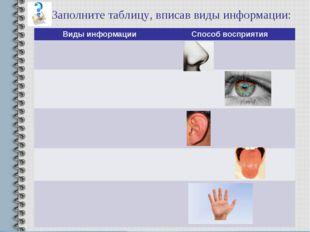 Заполните таблицу, вписав виды информации: Виды информацииСпособ восприятия