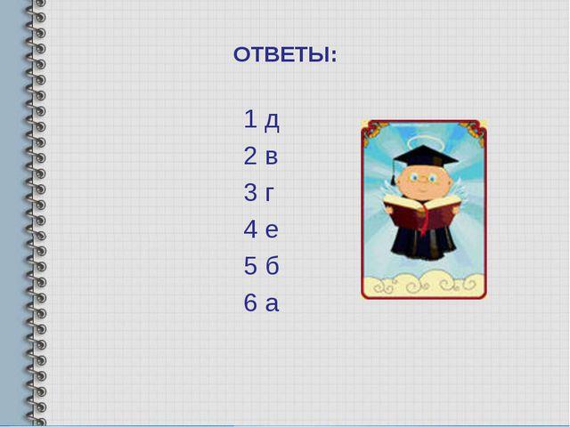 ОТВЕТЫ: 1 д 2 в 3 г 4 е 5 б 6 а