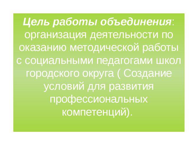 Цель работы объединения: организация деятельности по оказанию методической ра...
