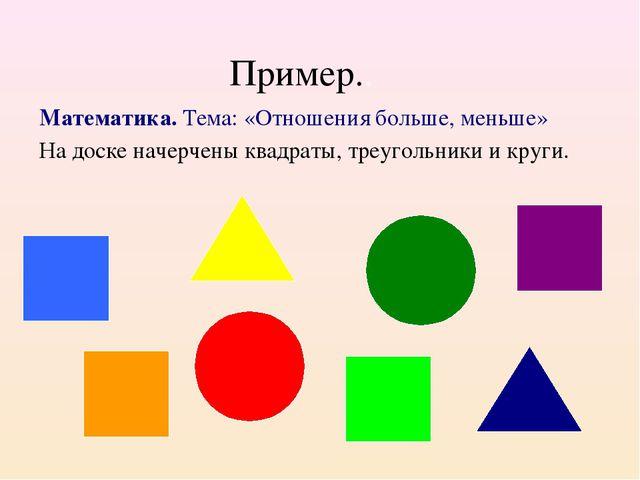 Пример.. Математика. Тема: «Отношения больше, меньше» На доске начерчены к...