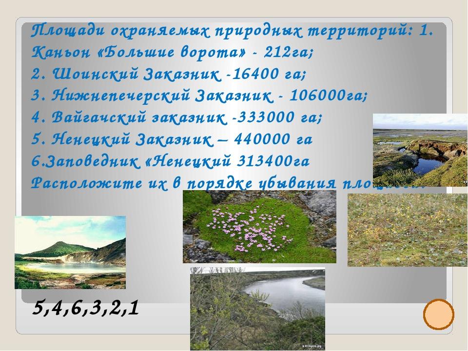 Площади охраняемых природных территорий: 1. Каньон «Большие ворота» - 212га;...