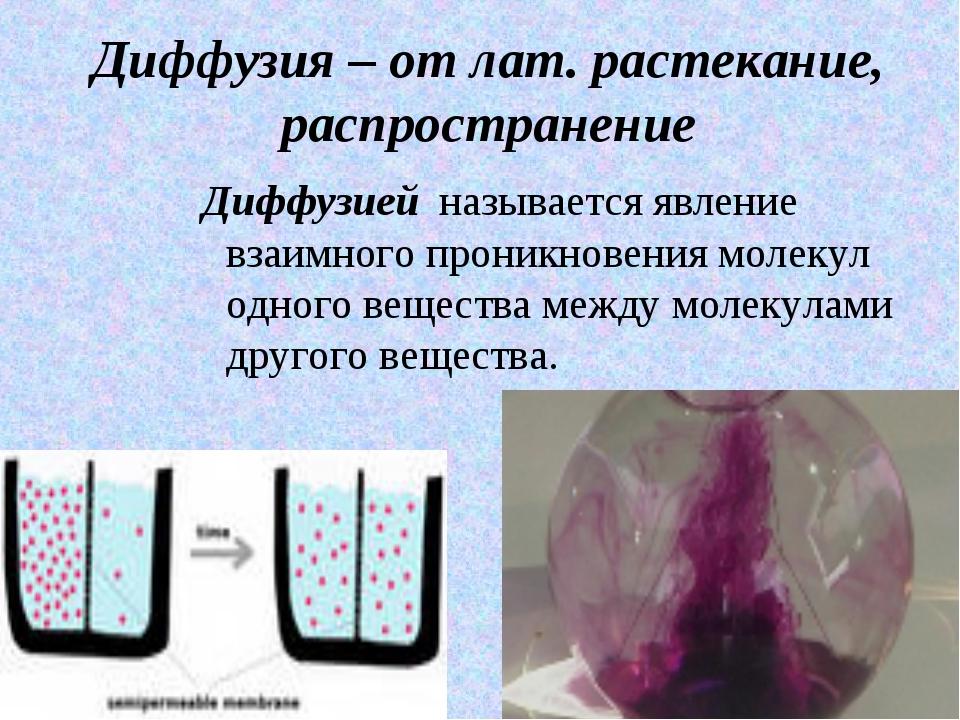 Диффузия – от лат. растекание, распространение Диффузией называется явление в...