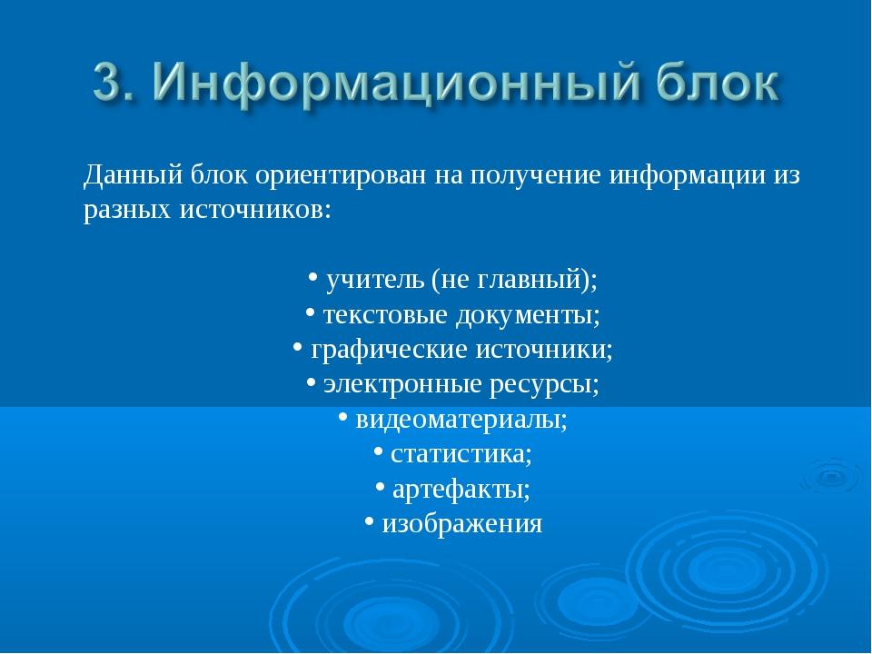 Данный блок ориентирован на получение информации из разных источников: учител...