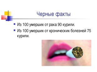 Черные факты Из 100 умерших от рака 90 курили. Из 100 умерших от хронических