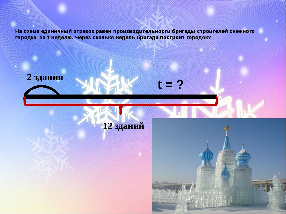 На схеме единичный отрезок равен производительности бригады строителей снежно...
