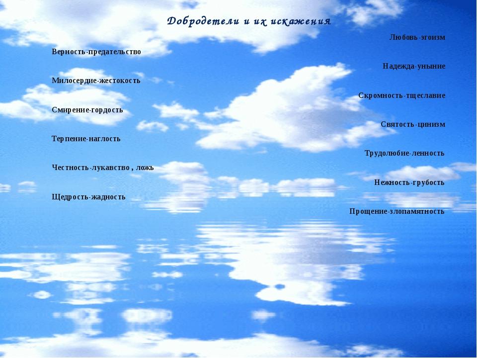 Добродетели и их искажения Любовь-эгоизм Верность-предательство Надежда-уныни...