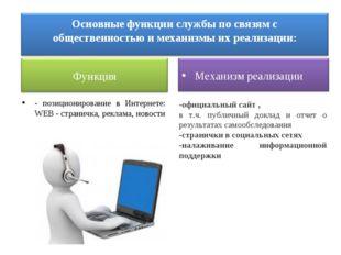 - позиционирование в Интернете: WEB - страничка, реклама, новости -официальны