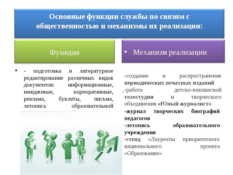 - подготовка и литературное редактирование различных видов документов: информ...