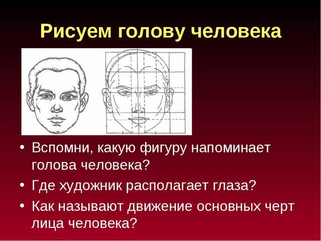 Рисуем голову человека Вспомни, какую фигуру напоминает голова человека? Где...