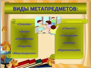 ВИДЫ МЕТАПРЕДМЕТОВ: «Знание» «Знак» «Проблема» «Задача» «Мироведение» «Смысл»
