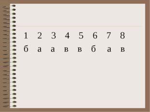 1 2 3 4 5 6 7 8 б а а в в б а в
