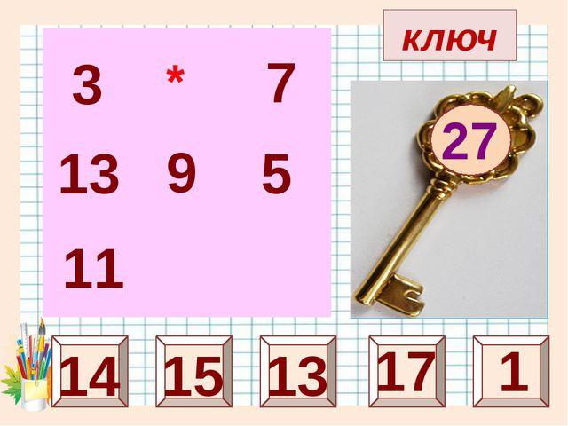 ключ 27 25 7 15 1 13 3 13 11 5 * 9 17 14