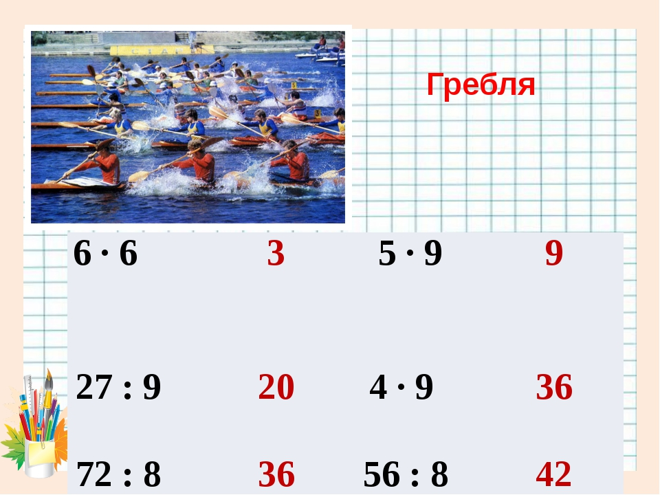 Гребля 6 · 6 3 5 · 9 9 27 : 9 20 4 · 9 36 72 : 8 36 56 : 8 42 5 ·4 9 81 : 9 4...