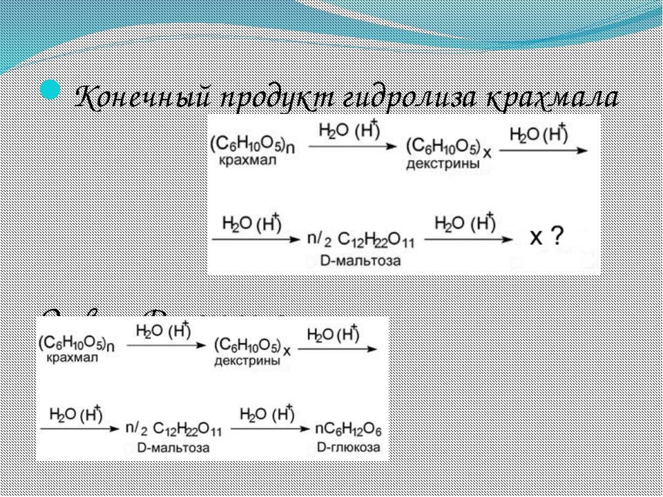 Конечный продукт гидролиза крахмала Ответ:D-глюкоза