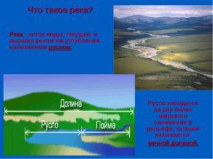 Что такое река? Река - поток воды, текущий в выработанном им углублении, назы