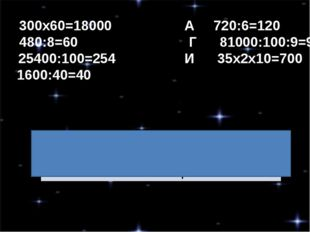 Н 300х60=18000 А 720:6=120 А 480:8=60 Г 81000:100:9=90 Р 25400:100=254 И 35х2
