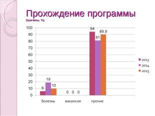 Прохождение программы (причины, %)