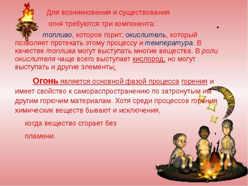 Для возникновения и существования огня требуются три компонента: топливо, ко...