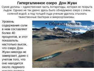 Гипергалинное озеро Дон Жуан Сухие долины – единственная часть Антарктиды, ко