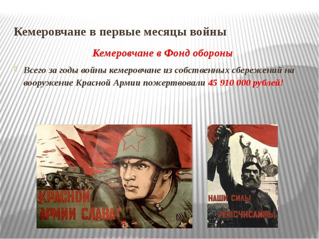 Кемеровчане в первые месяцы войны Кемеровчане в Фонд обороны Всего за годы во...