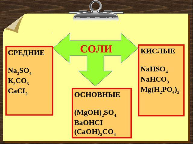 СОЛИ СРЕДНИЕ Na2SO4 К2CO3 CaCI2 КИСЛЫЕ NaHSO4 NaHCO3 Mg(H2PO4)2 ОСНОВНЫЕ (Mg...