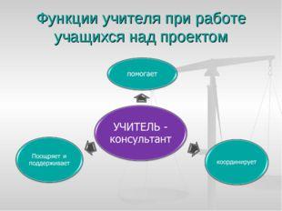 Функции учителя при работе учащихся над проектом