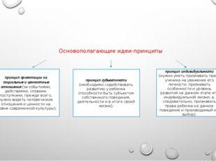 Основополагающие идеи-принципы принцип ориентации на социальные и ценностные