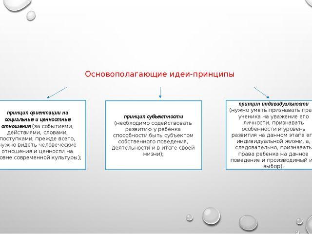 Основополагающие идеи-принципы принцип ориентации на социальные и ценностные...