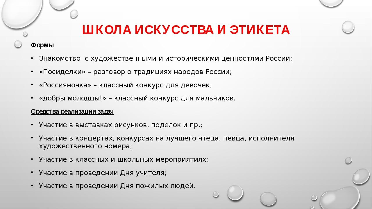 ШКОЛА ИСКУССТВА И ЭТИКЕТА Формы Знакомство с художественными и историческими...