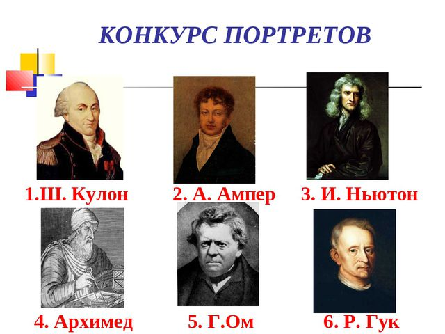 КОНКУРС ПОРТРЕТОВ 1.Ш. Кулон 2. А. Ампер 3. И. Ньютон 4. Архимед 5. Г.Ом 6....