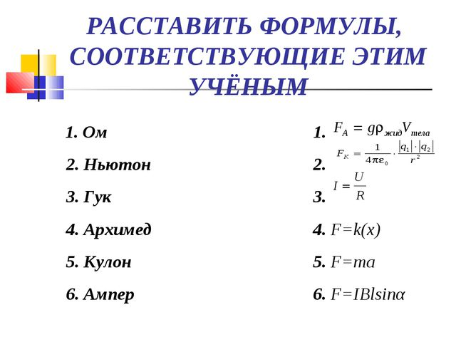 РАССТАВИТЬ ФОРМУЛЫ, СООТВЕТСТВУЮЩИЕ ЭТИМ УЧЁНЫМ 1. Ом 2. Ньютон 3. Гук 4....