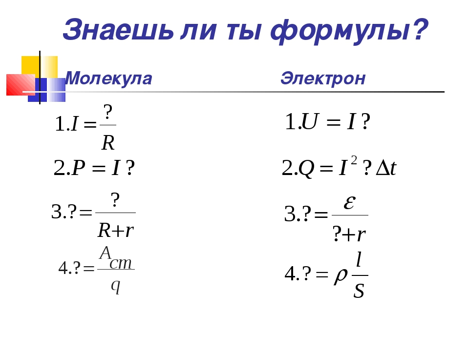 Молекула Электрон Знаешь ли ты формулы?