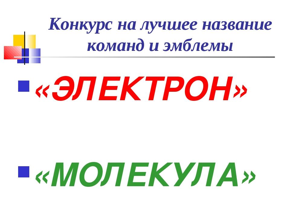 Конкурс на лучшее название команд и эмблемы «ЭЛЕКТРОН» «МОЛЕКУЛА»