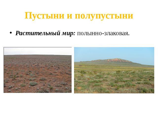 Пустыни и полупустыни Растительный мир: полынно-злаковая.