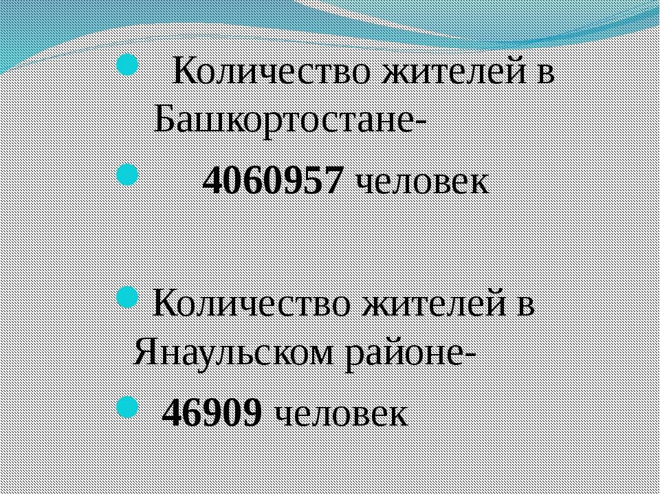 Количество жителей в Башкортостане- 4060957 человек Количество жителей в Яна...
