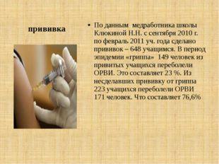 прививка По данным медработника школы Клюкиной Н.Н. с сентября 2010 г. по фев